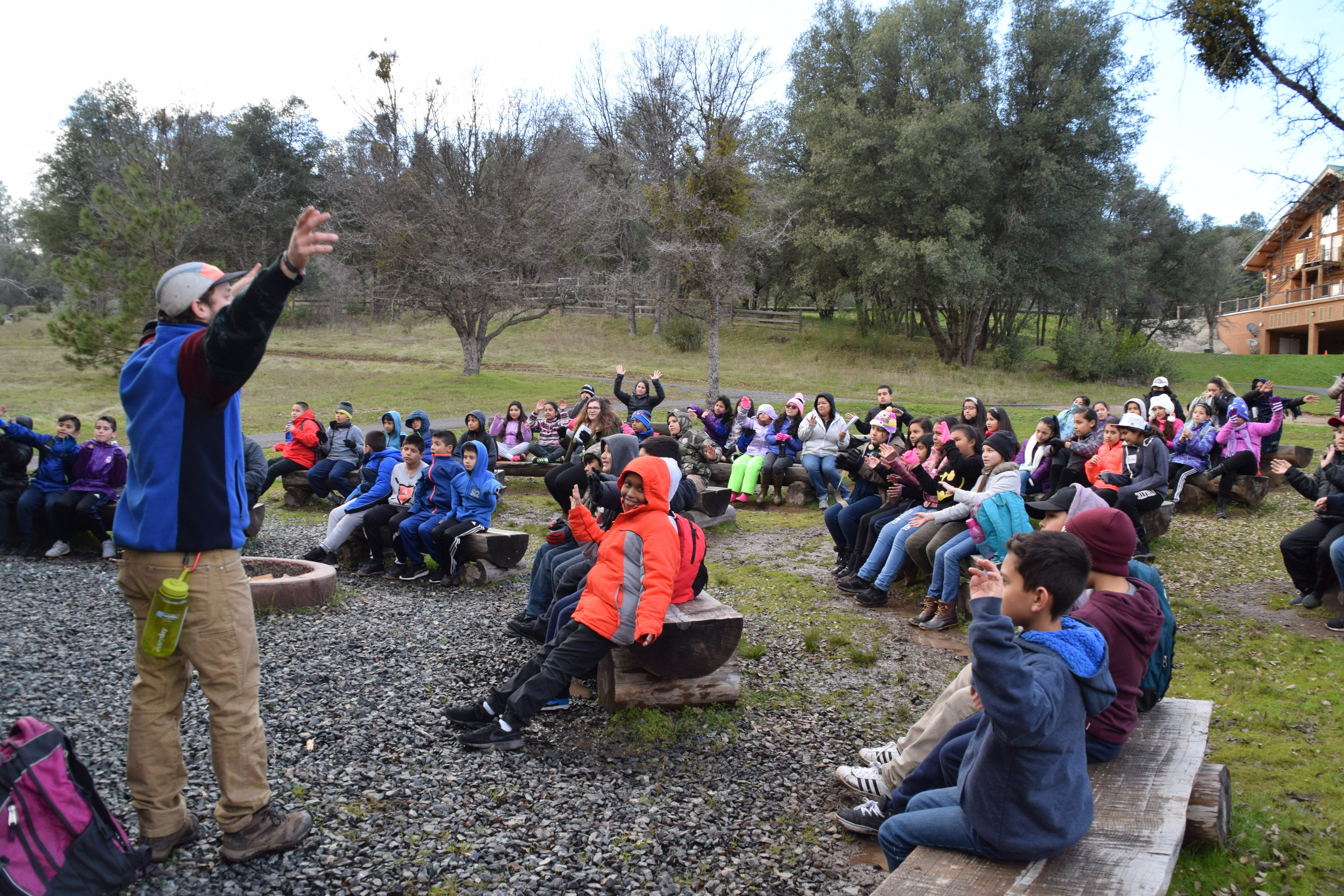 Rocketship Bay Area students attend WOLF School's Outdoor Science School program at Camp Tuolumne Trails, located just outside of Yosemite National Park.