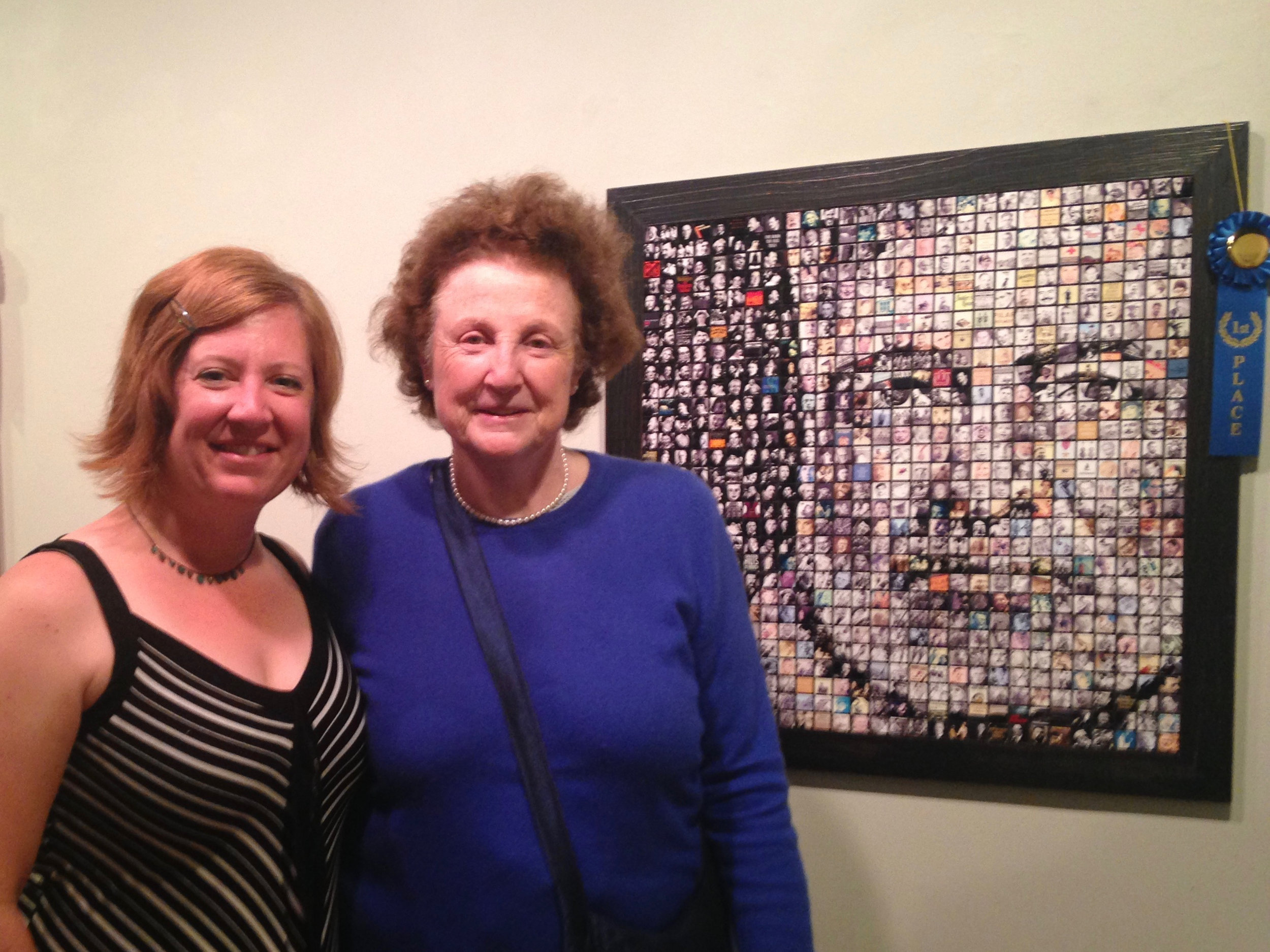 """Jen McNulty & Valerie Hemingway (Ernest Hemingway's daughter-in-law & last assistant) at  A Moveable Feast exhibition, where """"Papa Hemingway"""" won first place, July 2016."""