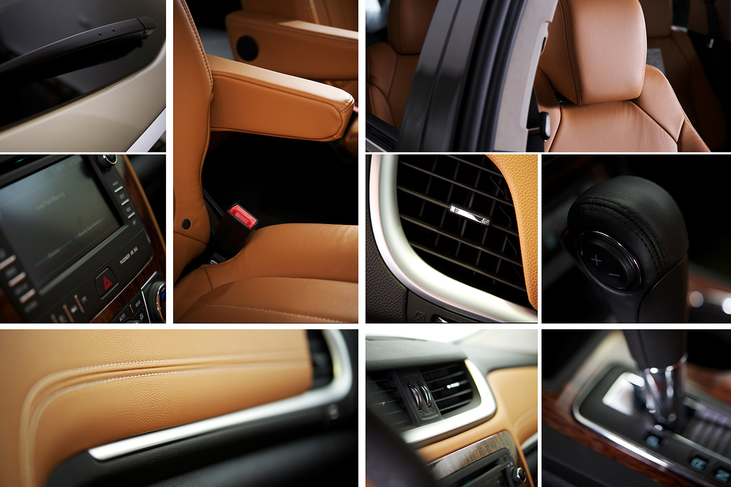 A collage of the interior of a car