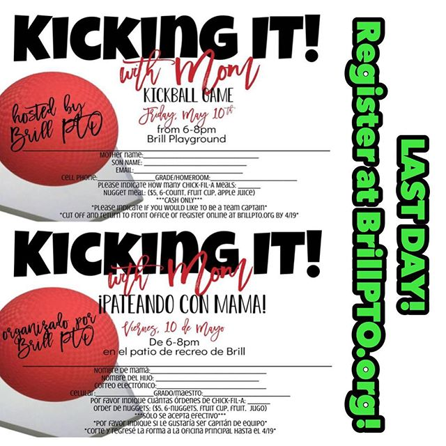 Head on over to brillpto.org to sign up for our mother/son kickball tournament! It's super quick and easy, and we can't wait to have some friendly competition with our boys! 👩‍👦#brillpto #brillbroncos #brillelementary #ptotoday #ptolife #ptomom #ptopresident #promise2purpose #momentsinklein