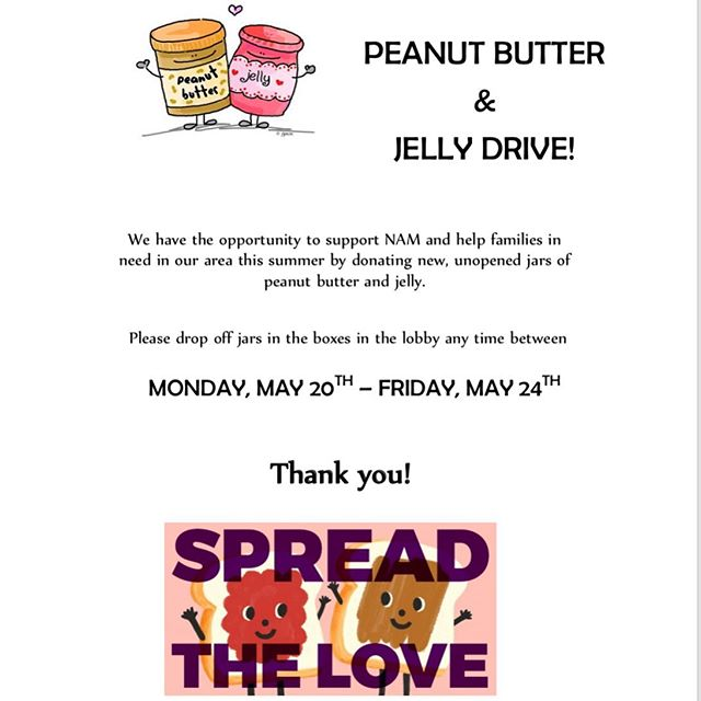 It's time for our annual Peanut Butter & Jelly Drive! Let's work together to make sure all of our kids have lunches over the summer while school is out! 🥜🍇 Drop off jars/bottles of peanut butter and jelly all this week before school, or to the front office. SPREAD THE LOVE! 💙💛💙💛💙 #brillpto #brillbroncos #brillelementary #momentsinklein #ptopresident #ptolife #ptomom #ptotoday #promise2purpose