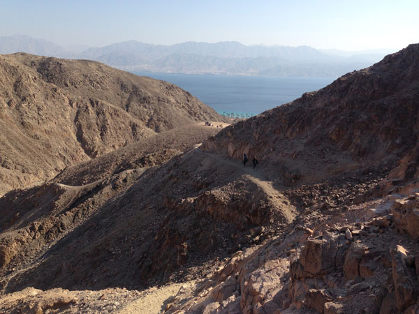 Mount Tsfahot. Reaching the top and being able to see the Red Sea between the mountains.