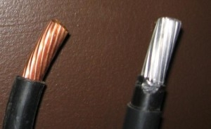 Aluminum wiring has to be one gauge thicker than copper wiring for the same application.
