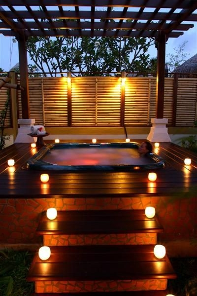 The area surrounding a hot tub should be safe in the evening.