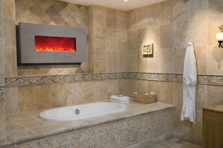 Who doesn't want a fireplace in the bathroom?