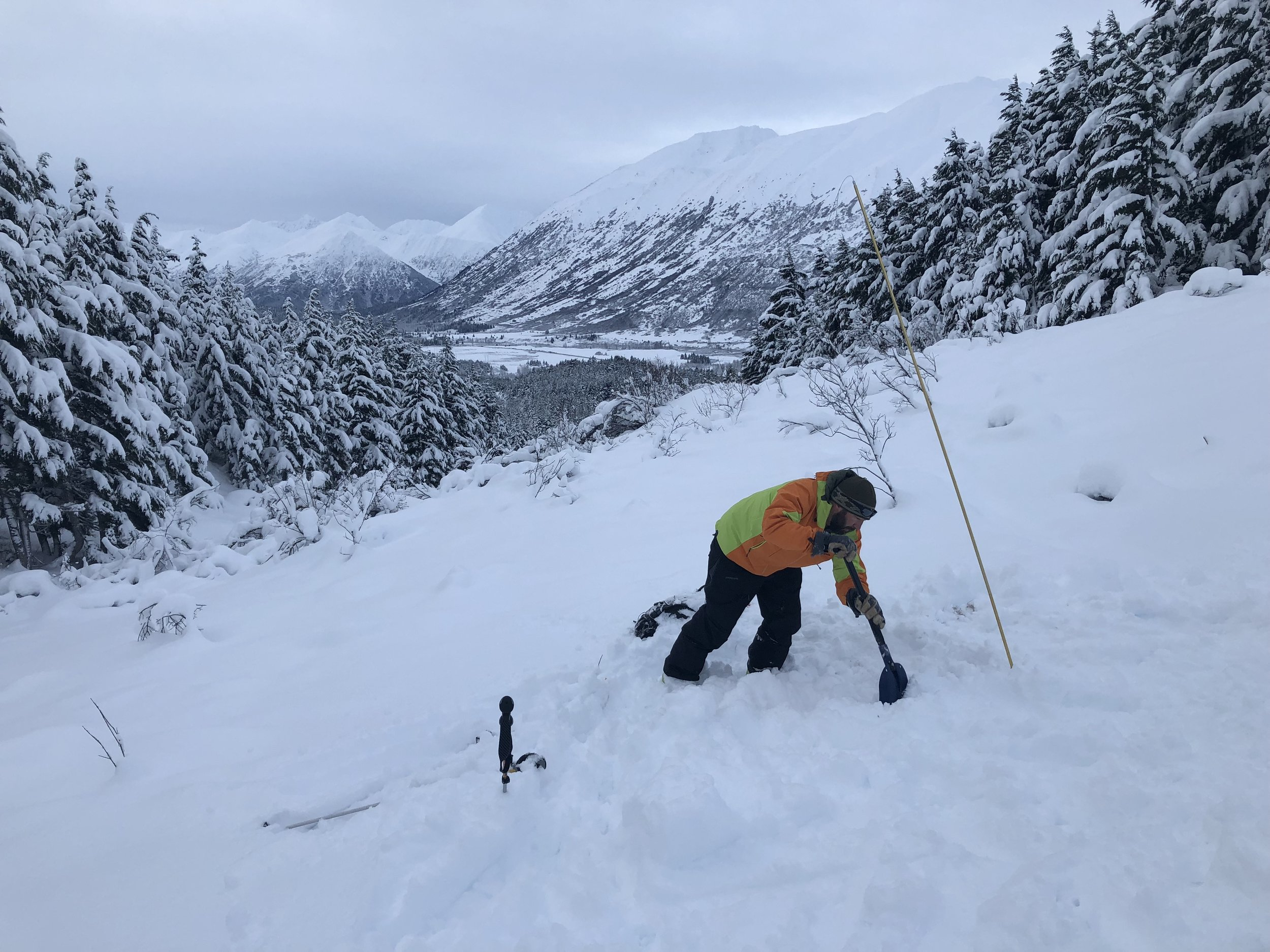 AGC student during rescue practice on the Rec 1 avalanche class