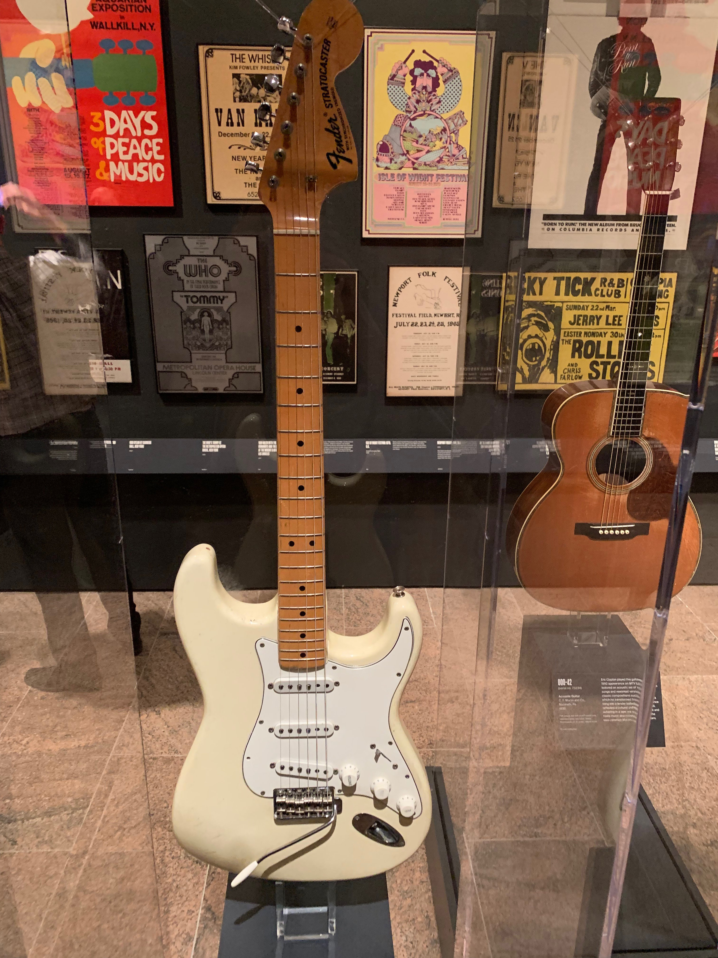 "Jimi Hendrix had a preference for Fender Stratocasters and used this during his 1969 Woodstock performance where he did his famous rendition of the ""Star Spangled Banner."""
