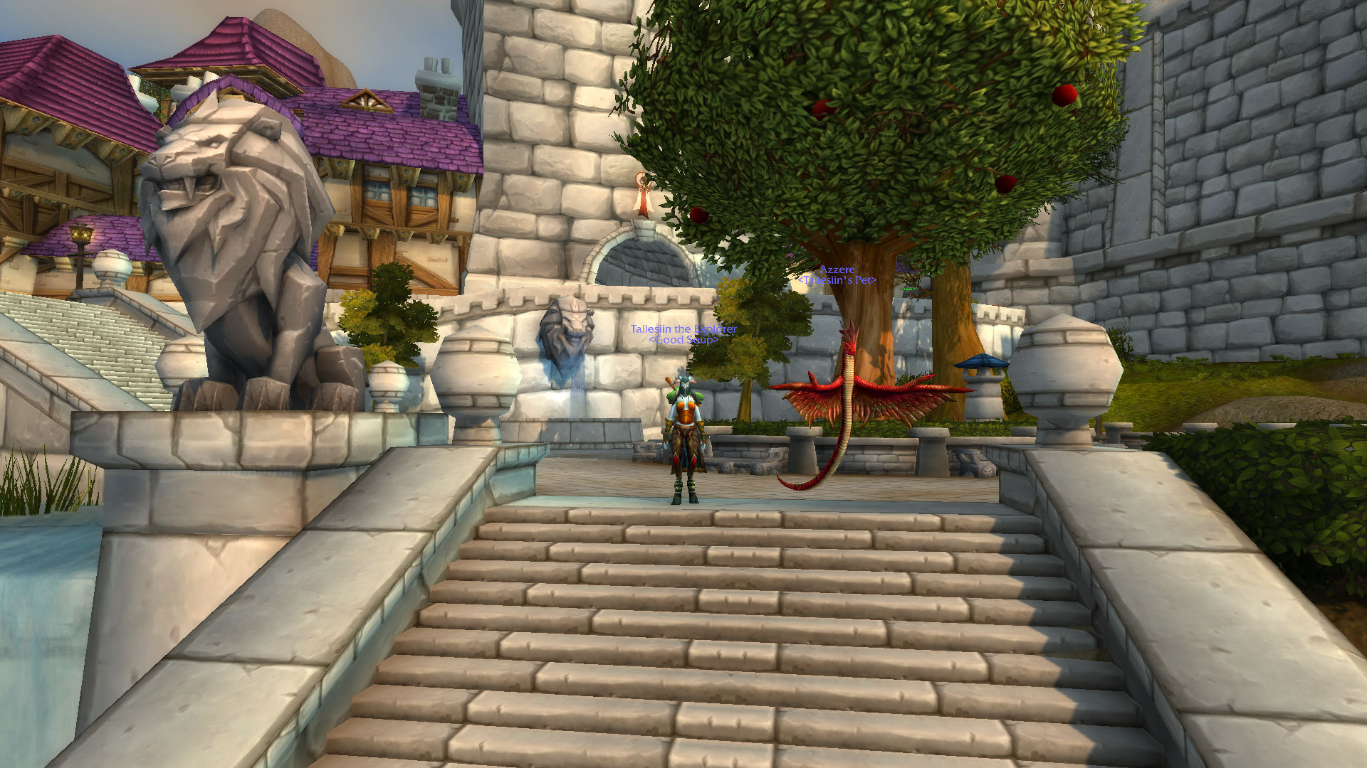 Taliesiin parked in Stormwind with her faithful winged snake.