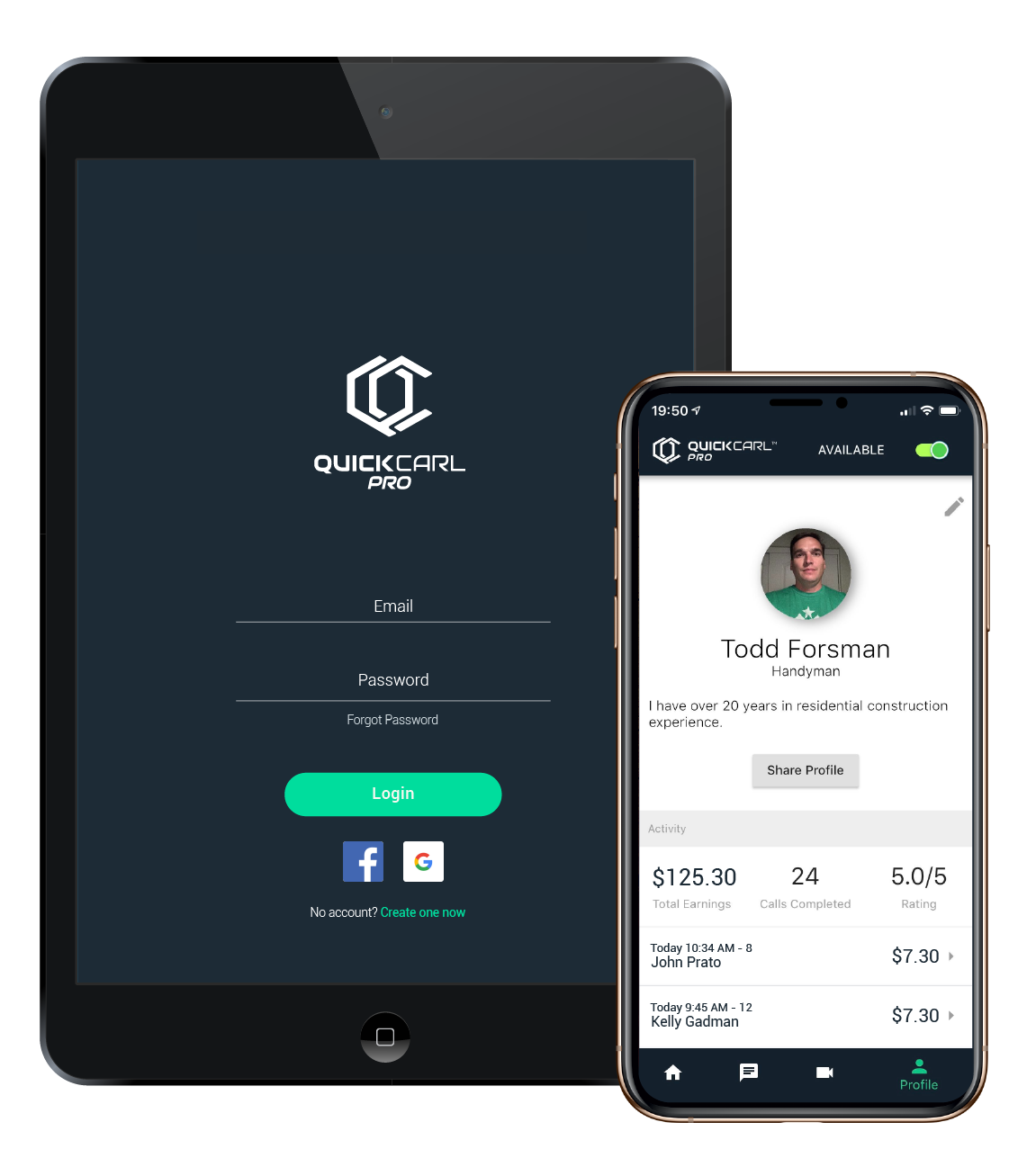 QuickCarl Pro - Start Earning Today with On-Demand Virtual Service Calls