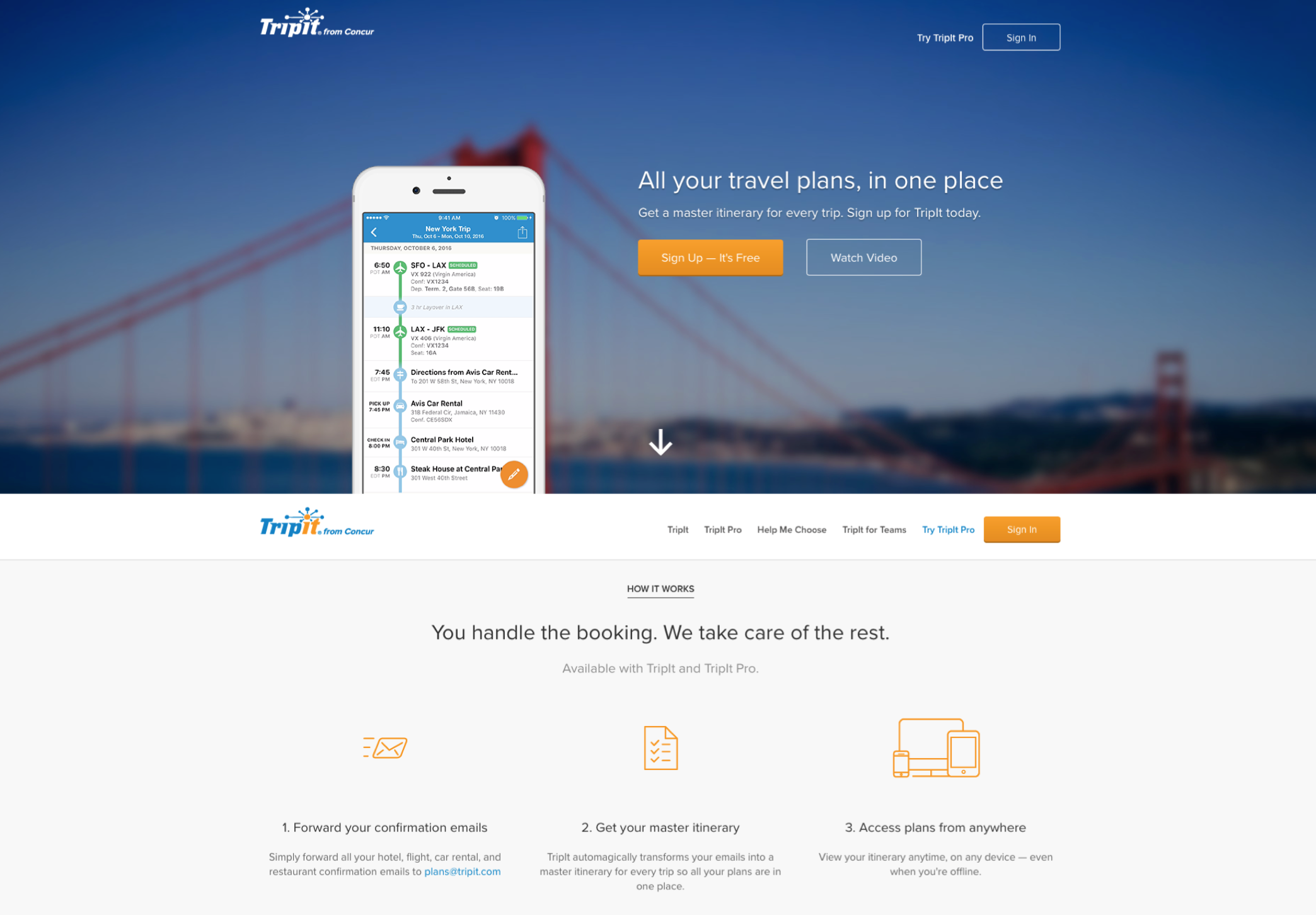The TripIt landing page prior to redesign,  (2013 - 2018)