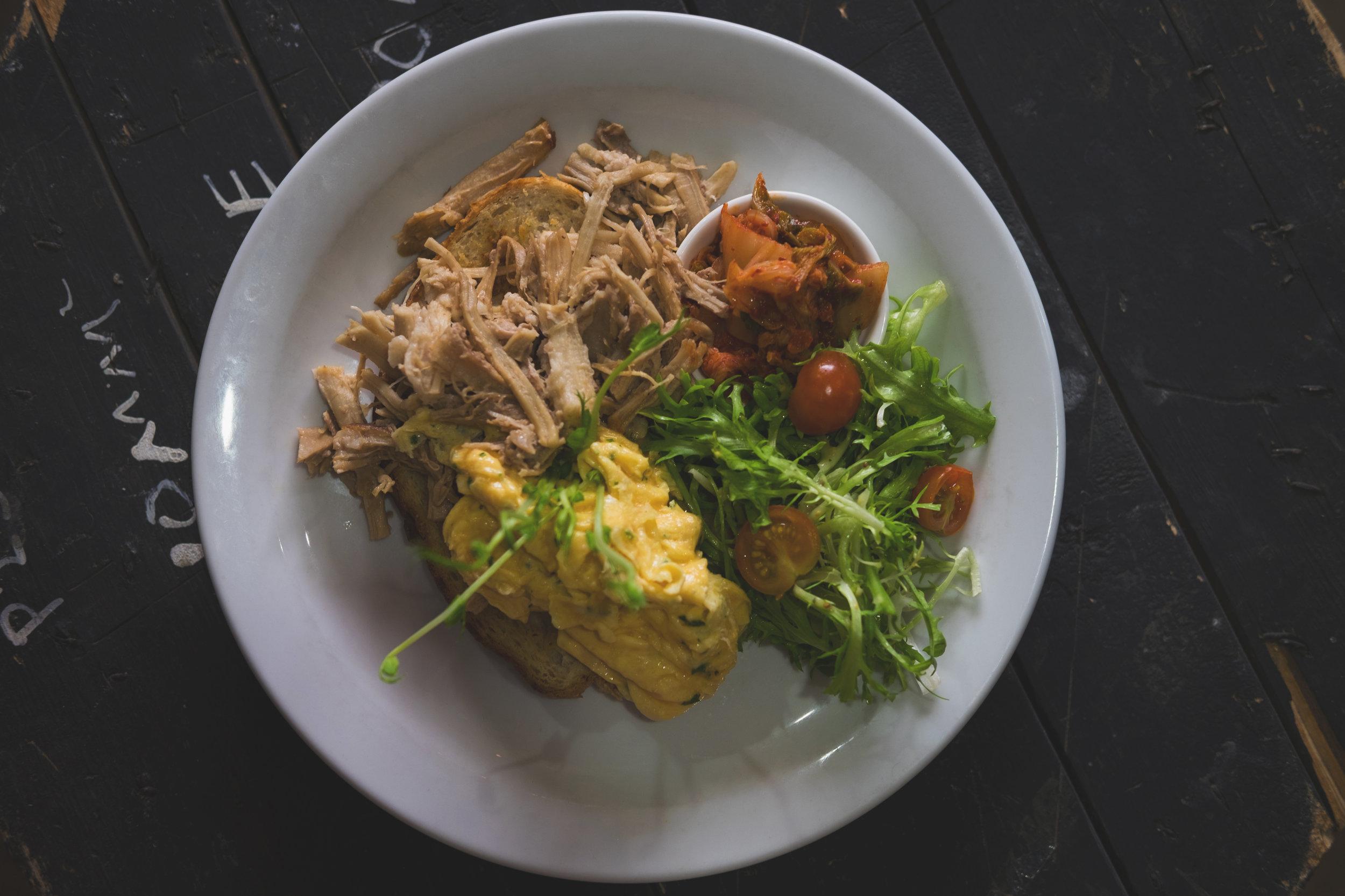 Pork belly, scrambled eggs, kimchi