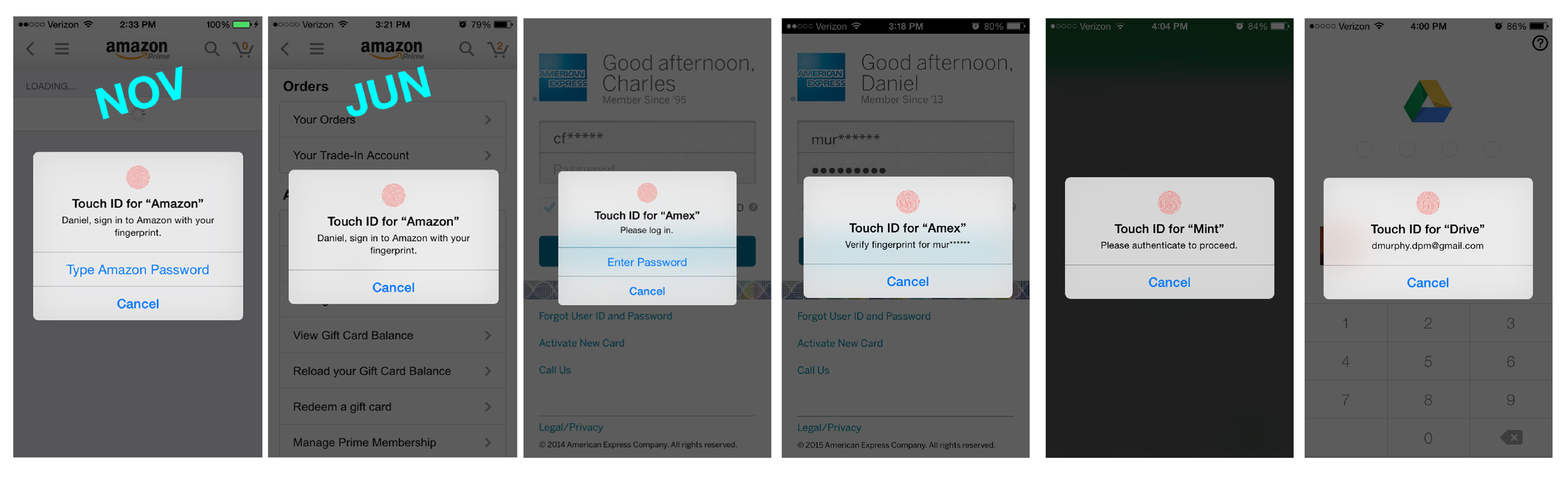 Screenshots taken from the Amazon, American Express, Google Drive, and Mint experiences.