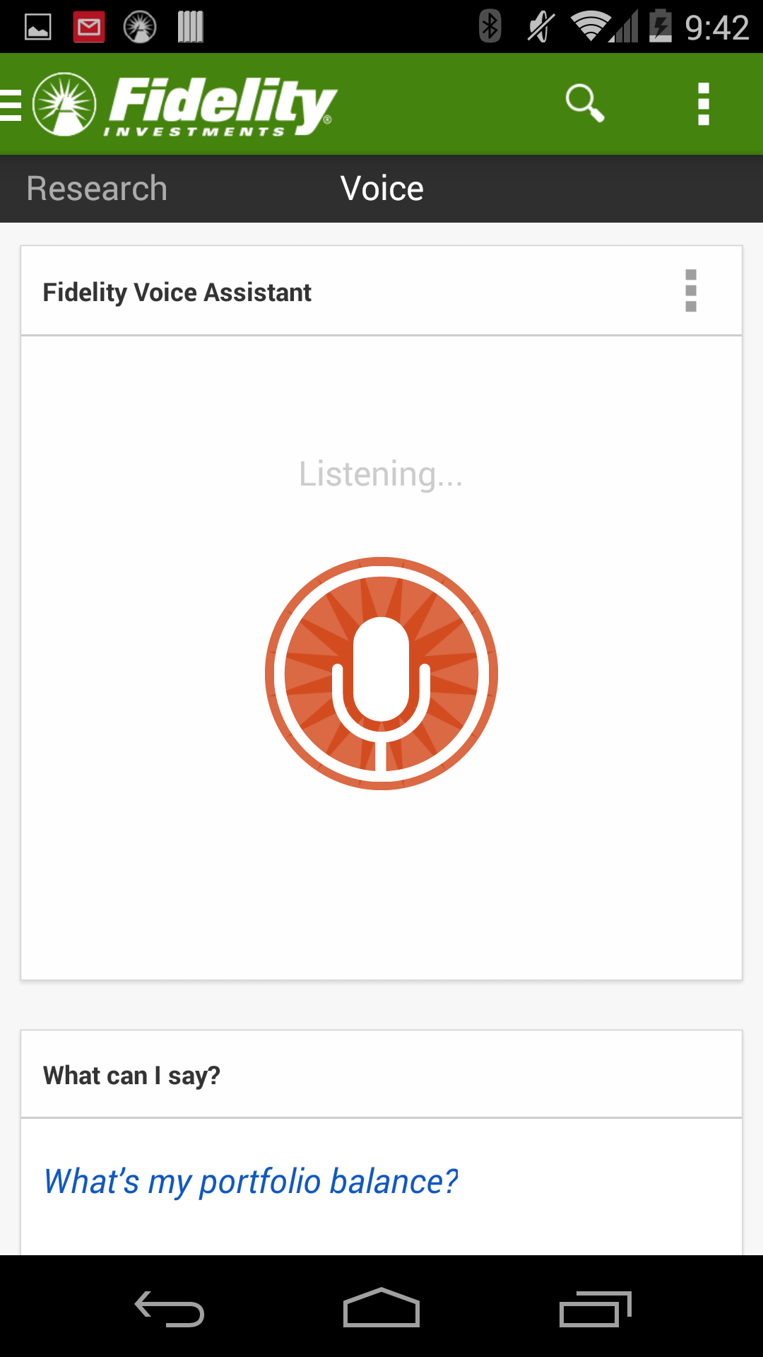 """First iteration of our Android Voice Assistant. """"Recording"""" state."""