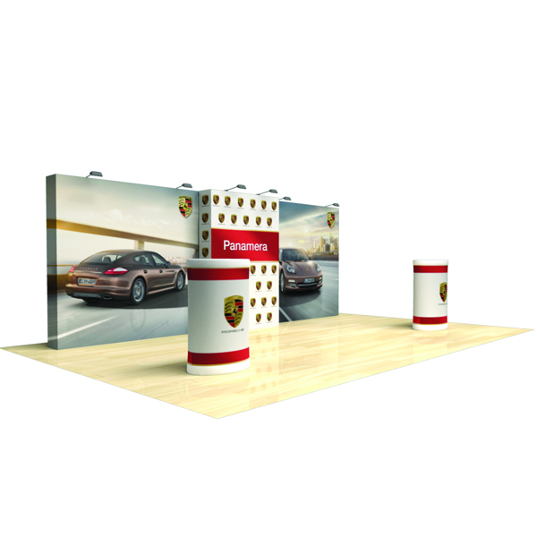 20ft x 8ft Tension Fabric Display. Entire display packs and ships in two case-to-counter conversions