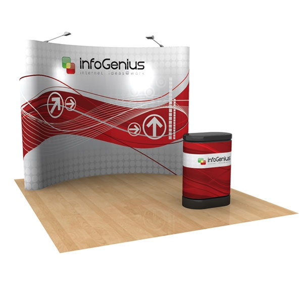 10ft x 8ft popup display with photomural, two arm lights, case-to-counter conversion