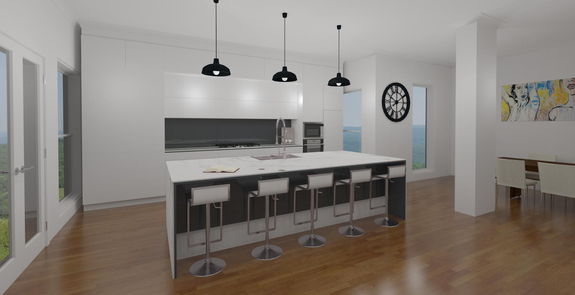 Second Hi detailed kitchen 3D perspective