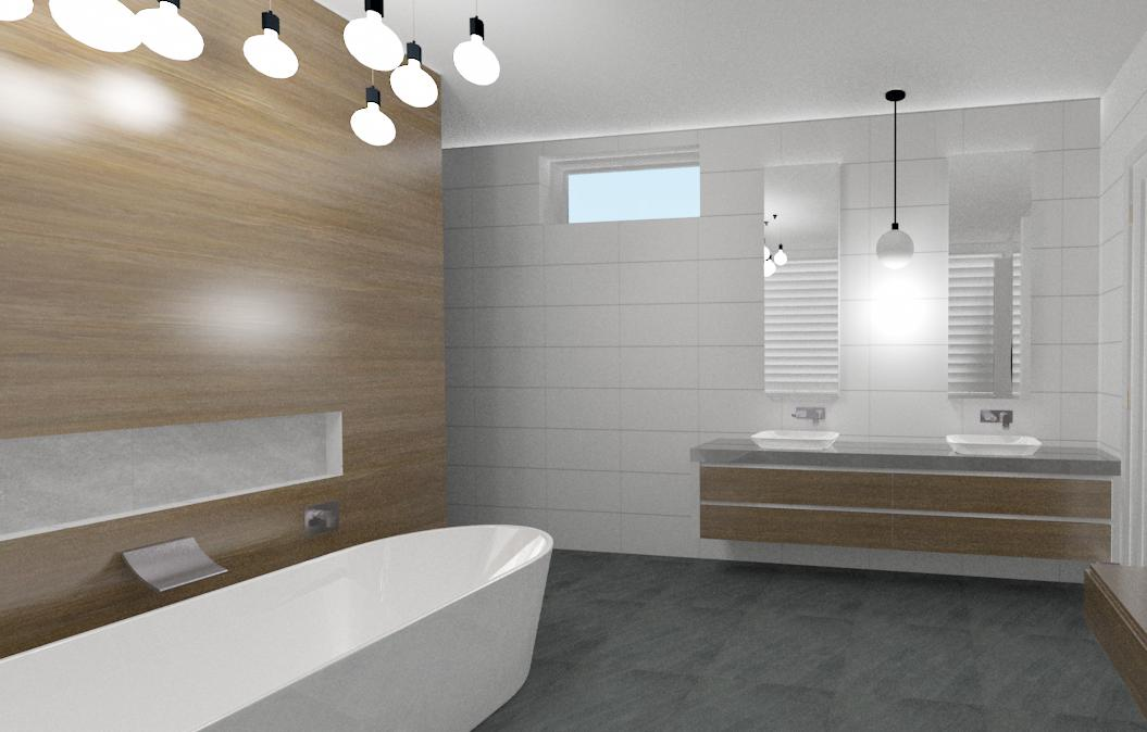 Second high detailed 3D bathroom perspective