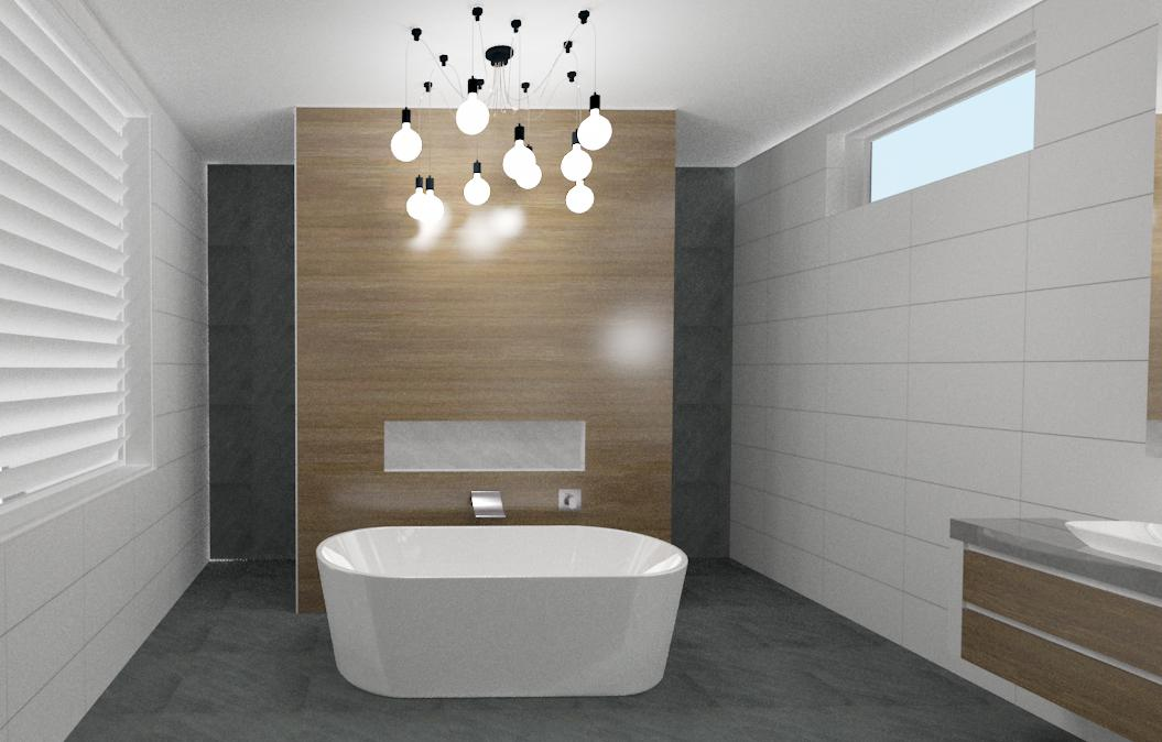 Third high detailed 3D bathroom perspective