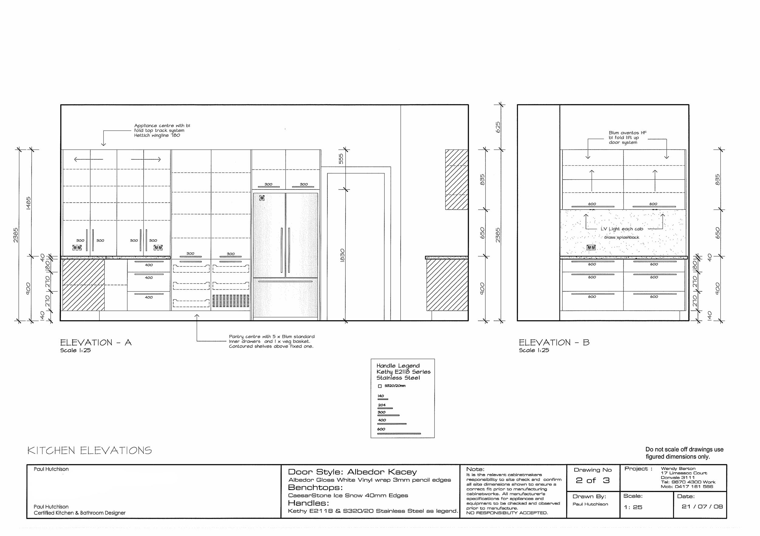Detailed kitchen concept elevation plans
