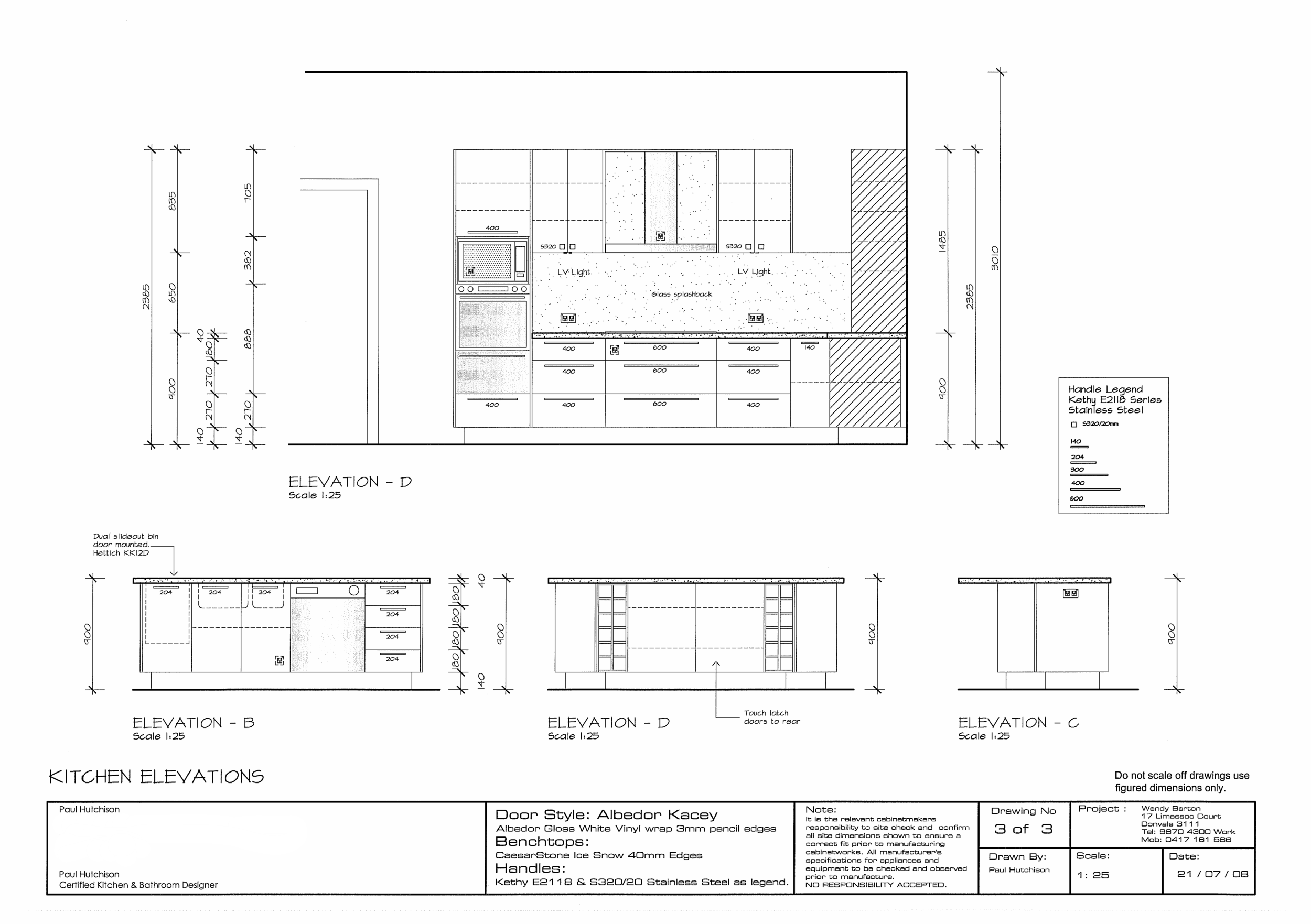 Detailed kitchen second elevation plans