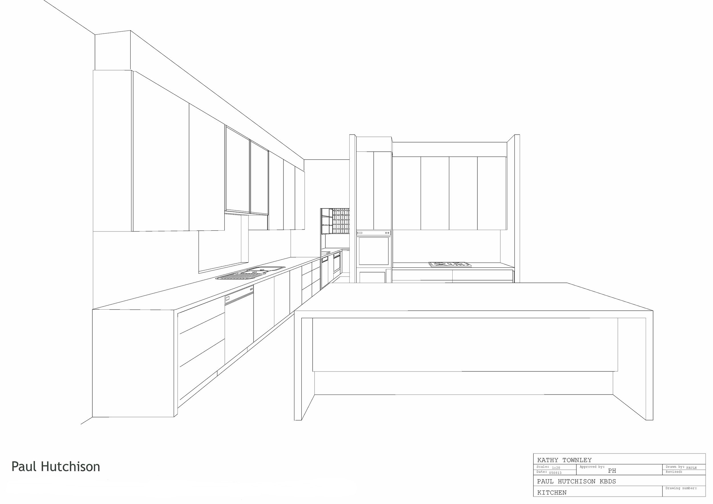 Concept kitchen black & white 3D image