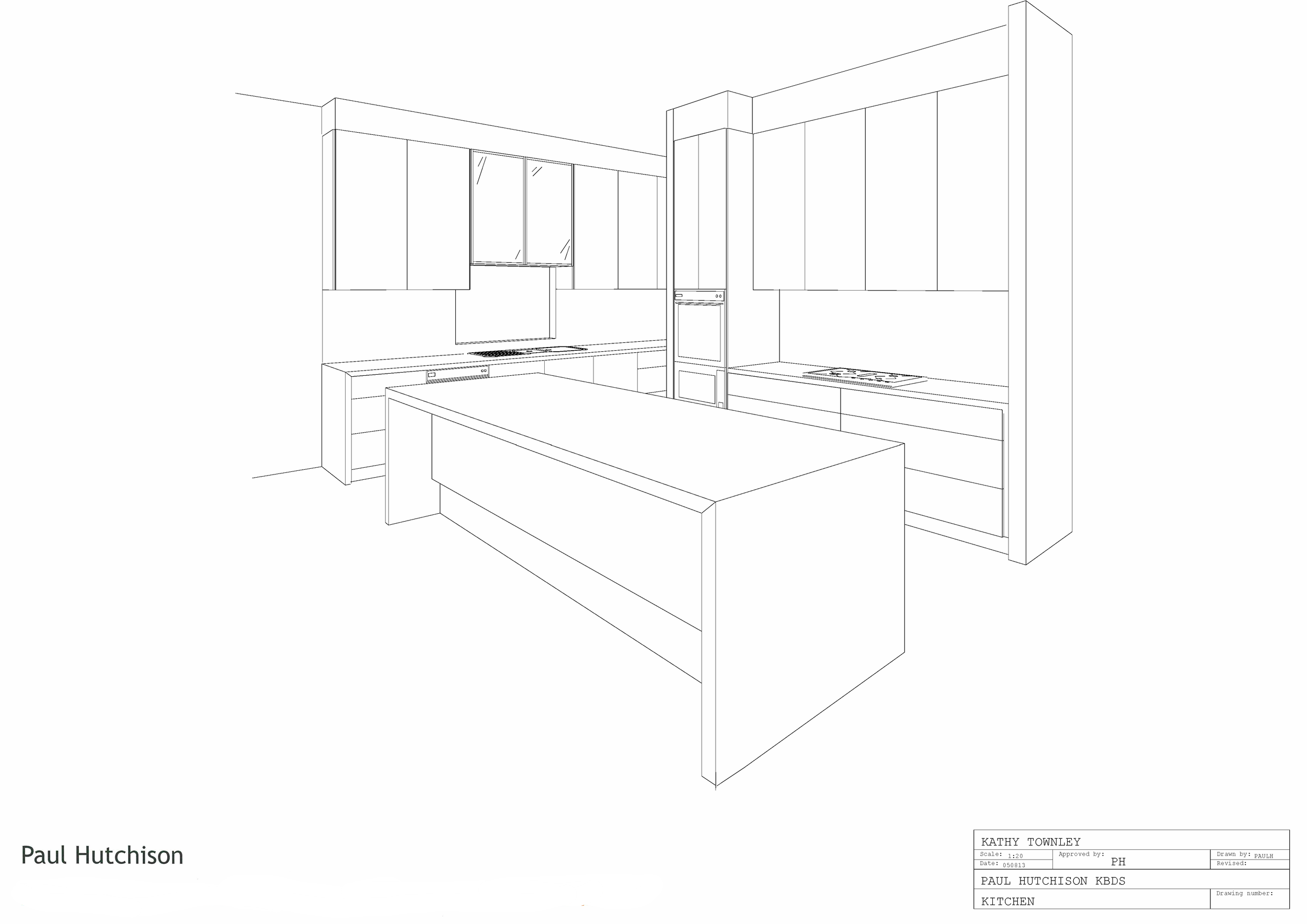 Second concept kitchen black & white 3D image