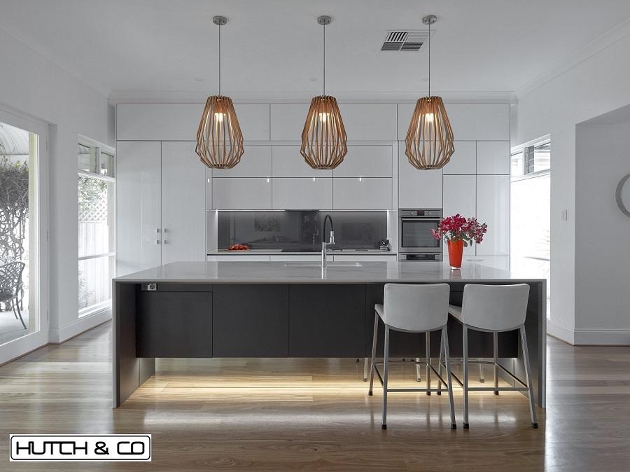 white kitchen grey island