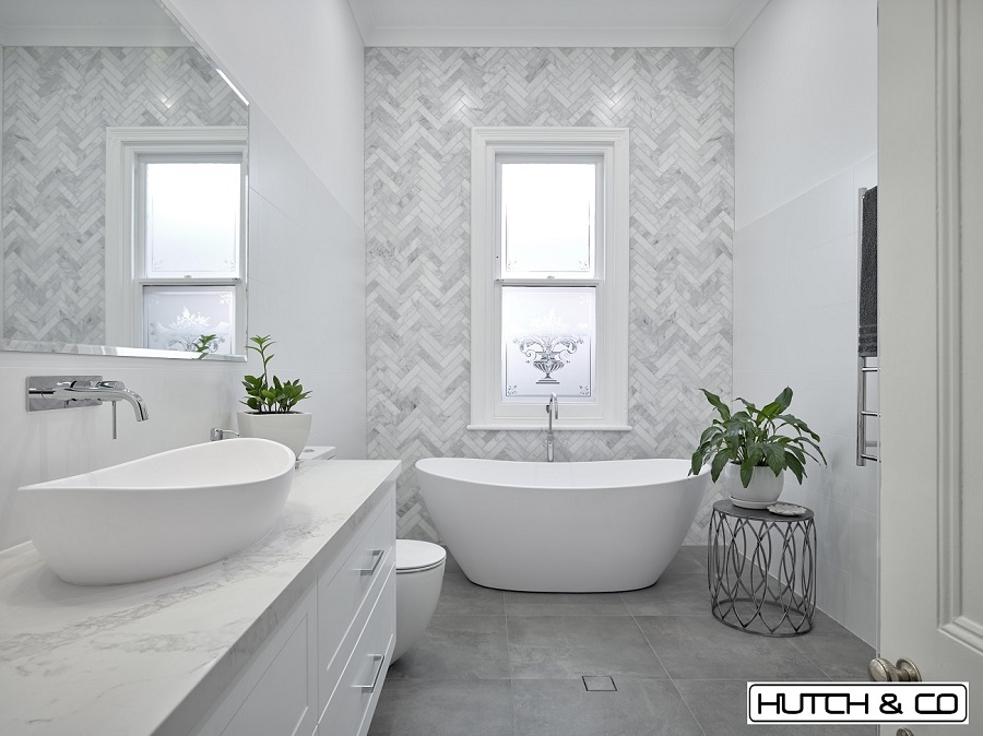 herringbone marble tiling