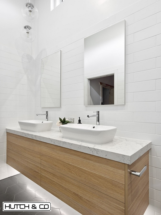 face level mirror storage in designer bathroom