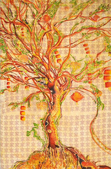 "When The Sleeping Dragon Awakes, 24""x36"", Batik on Cotton + Mixed Media on Wood Panel  SOLD"