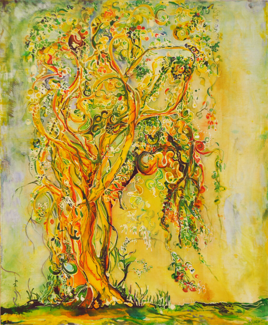 "Mangoes & Monsoons, 30""x36"", Batik on Cotton + Mixed Media on Wood Panel  SOLD"