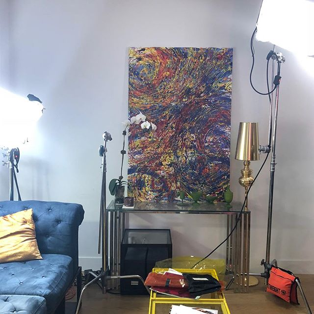 My paint on the movie set for an upcoming short film called White Flags! Thank you Claire DeLiso.  #whiteflagsfilm #abstractart #movieset