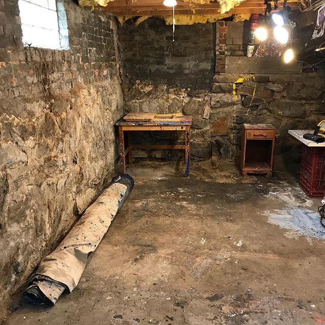 And now just a basement... #studioanywhere #aaronmorseart #artstudio
