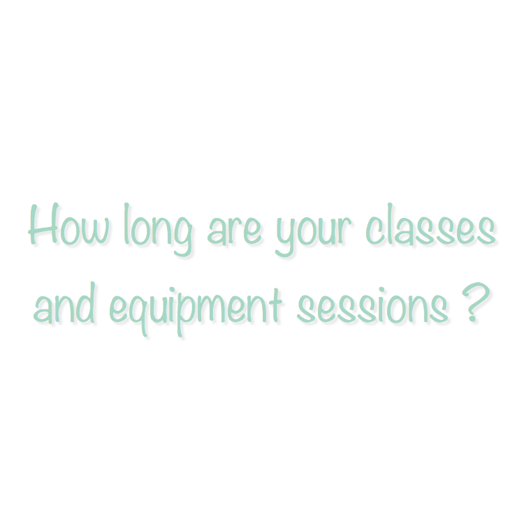 Both Pilates mat and Barre classes are 50 minutes (except for Express Barre which is 30 minutes). Private and Duet Equipment sessions are 55 minutes.