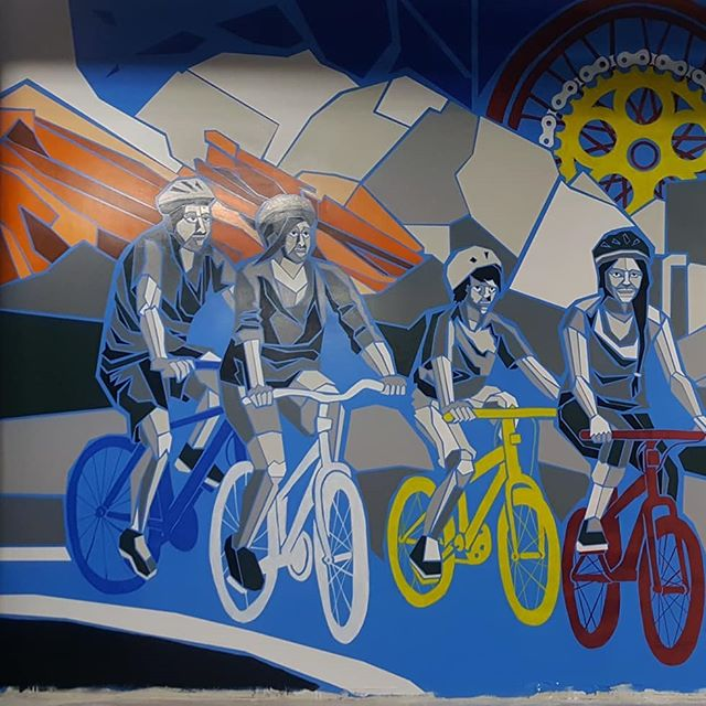 The latest in my fractured series is the bike mural at 5800. This mural was painted in rough conditions but 4 rolls of tape later and I'm really happy with how this one turned out.  #art #artonistagram #artgram #murals #muralist #muralideas #mural #muralartist #muralart #muralpainting #wallart #paintpaintpaint #paint #painting #acrylicpainting #paintmarkers #paintmarker #paintmarkerart #painterstape #bikelife #bike #biking #bikeart #bikemural #redrocksamphitheater #denvercolorado #familybikeride #linescience #coloradoflag #coloradoflagart