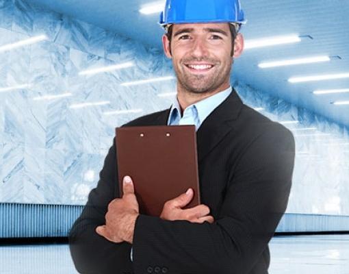 Service supervisor assessing led lighting installation