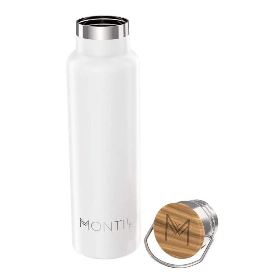 MontiiCo - Original Drink Bottle (White) - Along with my Smoothie Cup, I also love my Montii drink bottle!! It has 24 hours of cooling, a wide mouth so you can easily pop ice cubes in, insulated double wall stainless steel plus no plastic comes into contact with their bottles (the lid is made of eco-friendly bamboo and the seal is silicone!).(CODE: 'THRIVINGONPLANTS' for 15% OFF!)