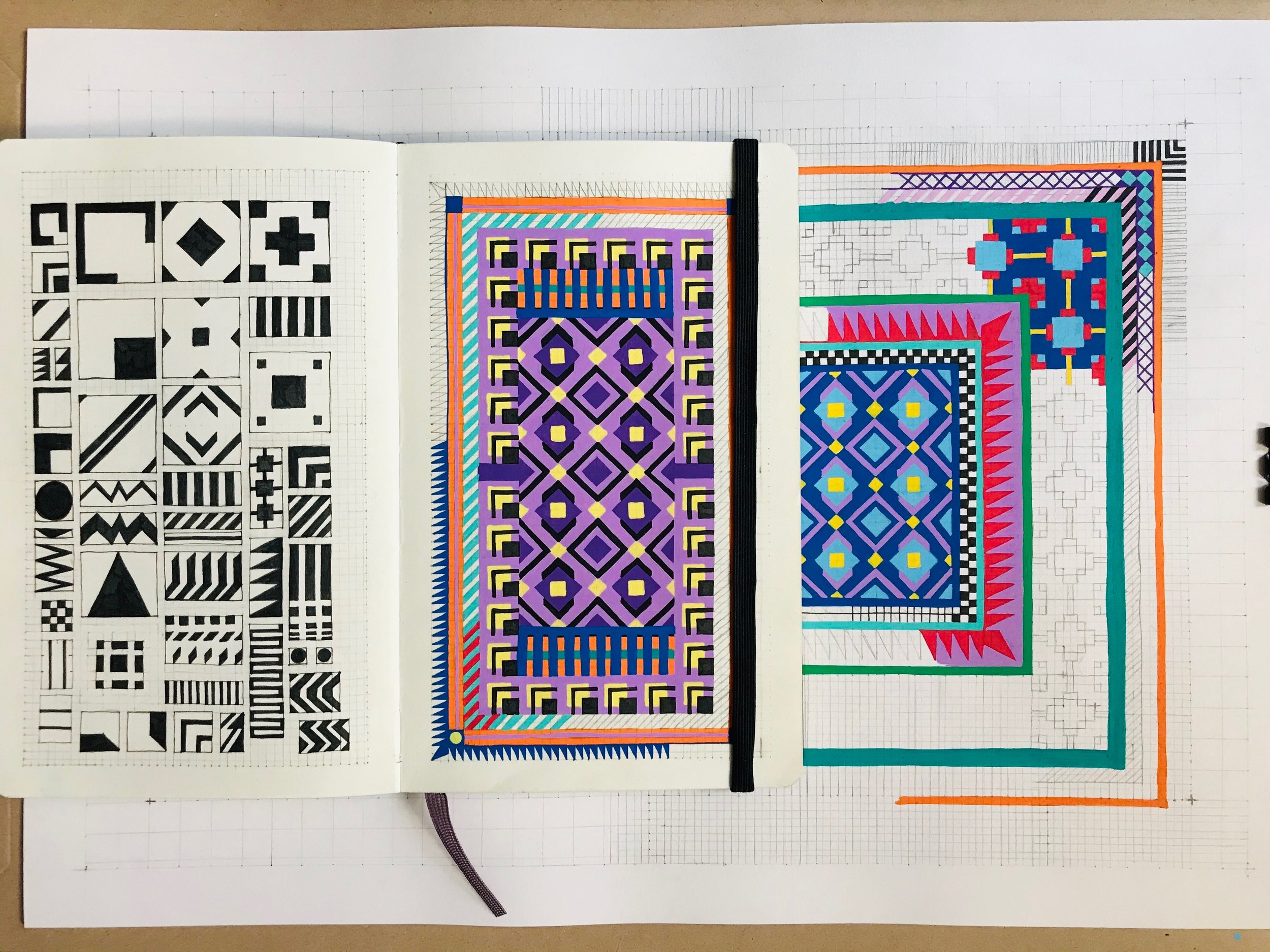 First Sketches for the United Painting Carpet + Pattern System