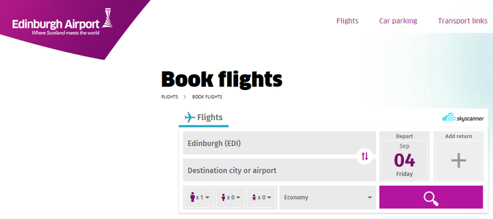 Edinburgh Airport's flight search white label by Skyscanner
