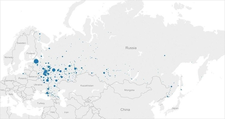 Passengers flying to international destination from Russian cities