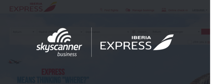 Skyscanner for Business and Iberia Express logos