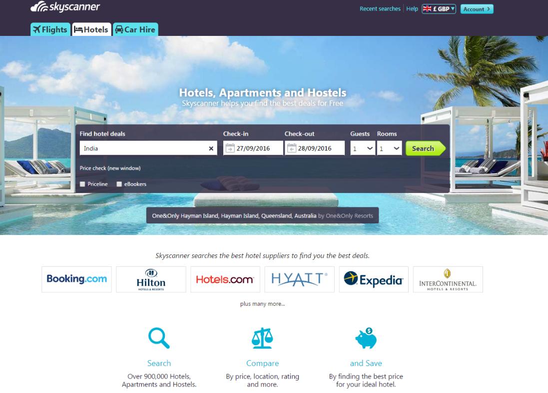 Skyscanner Hotel Search website screenshot