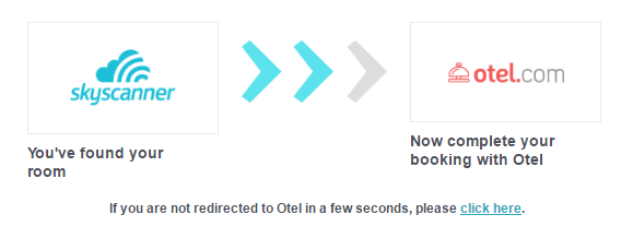 Skyscanner redirect to Otel.com