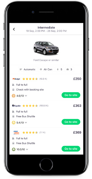 Car Hire search on Skyscanner