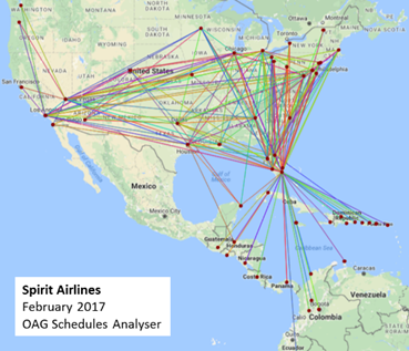 Spirit Airlines February 2017 OAG Scheduler Analyser