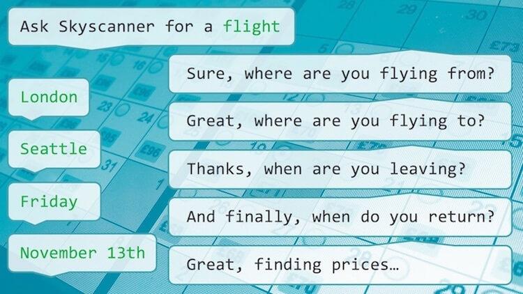 Skyscanner Bot conversation