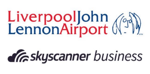 Liverpool John Lennon Airport and Skyscanner for Business logos
