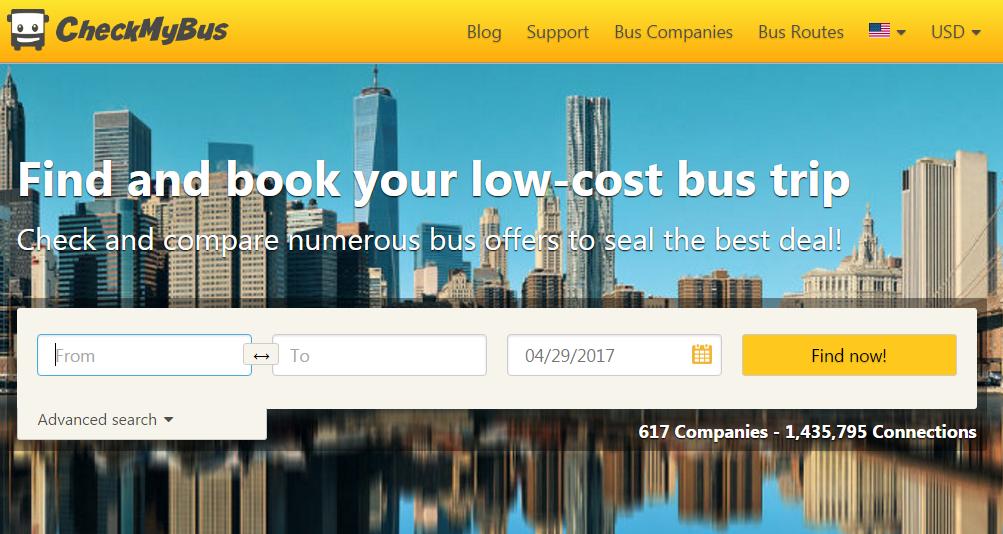 CheckMyBus website screenshot