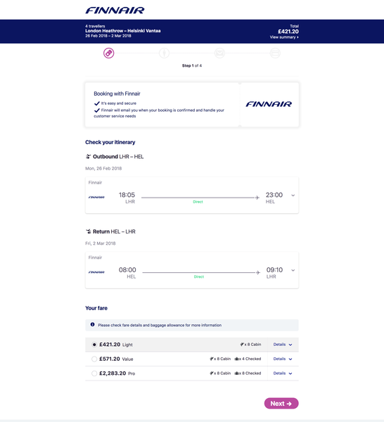 Finnair on Skyscanner Direct Booking