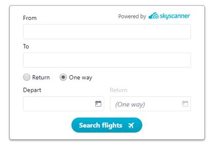 Flight search widget
